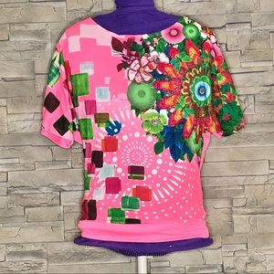 Desigual pink and multicolour top